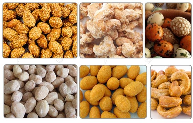Different kinds of coated peanuts