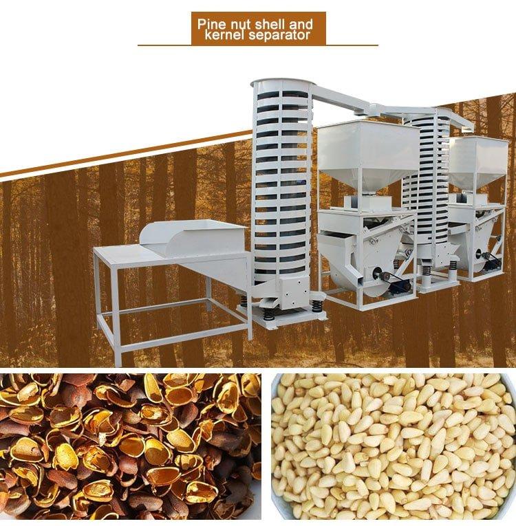 Pine nutshell and kernel separator